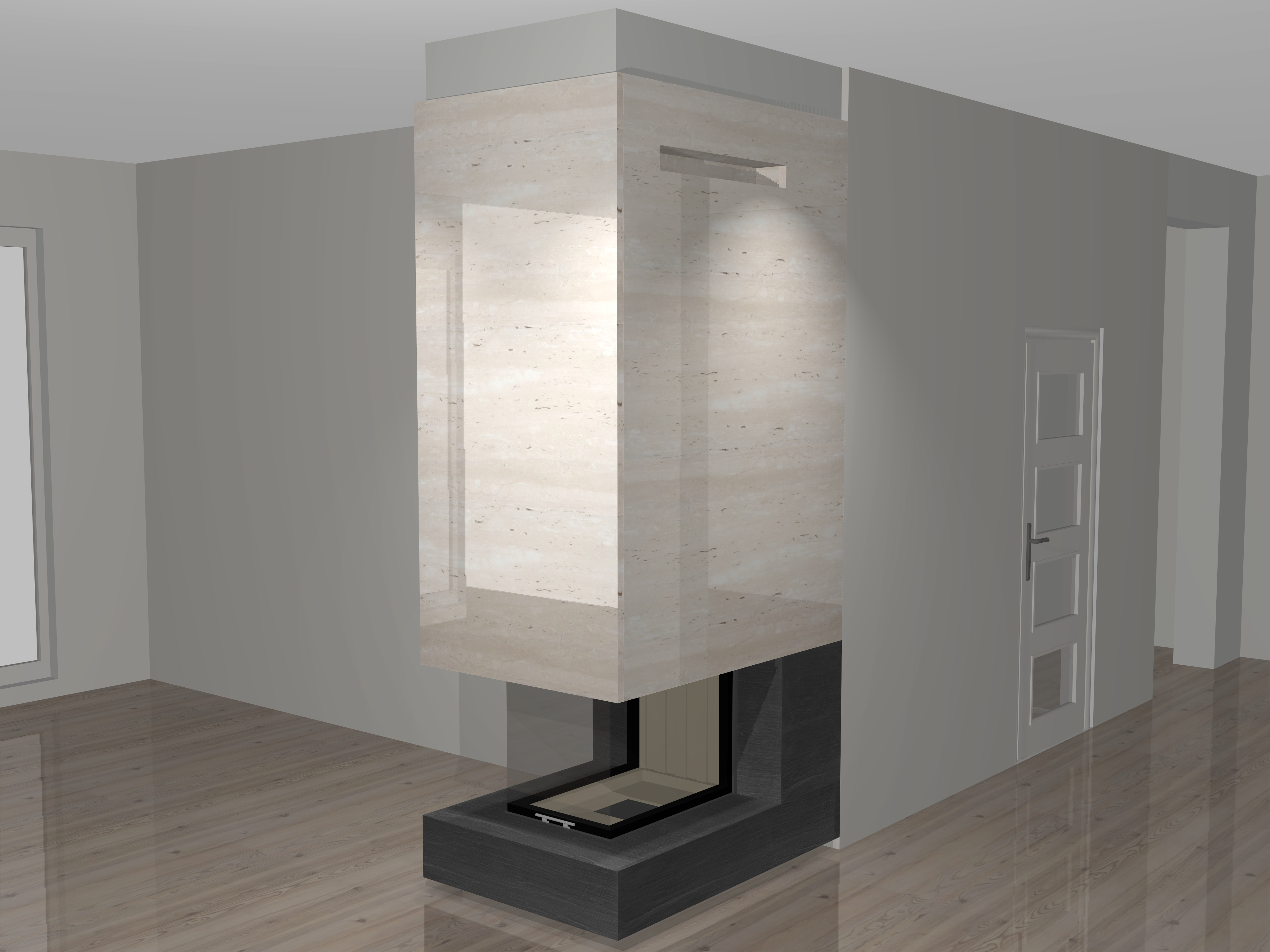 dreiseitiger kamin a 33 1 mit spartherm mit montage www. Black Bedroom Furniture Sets. Home Design Ideas