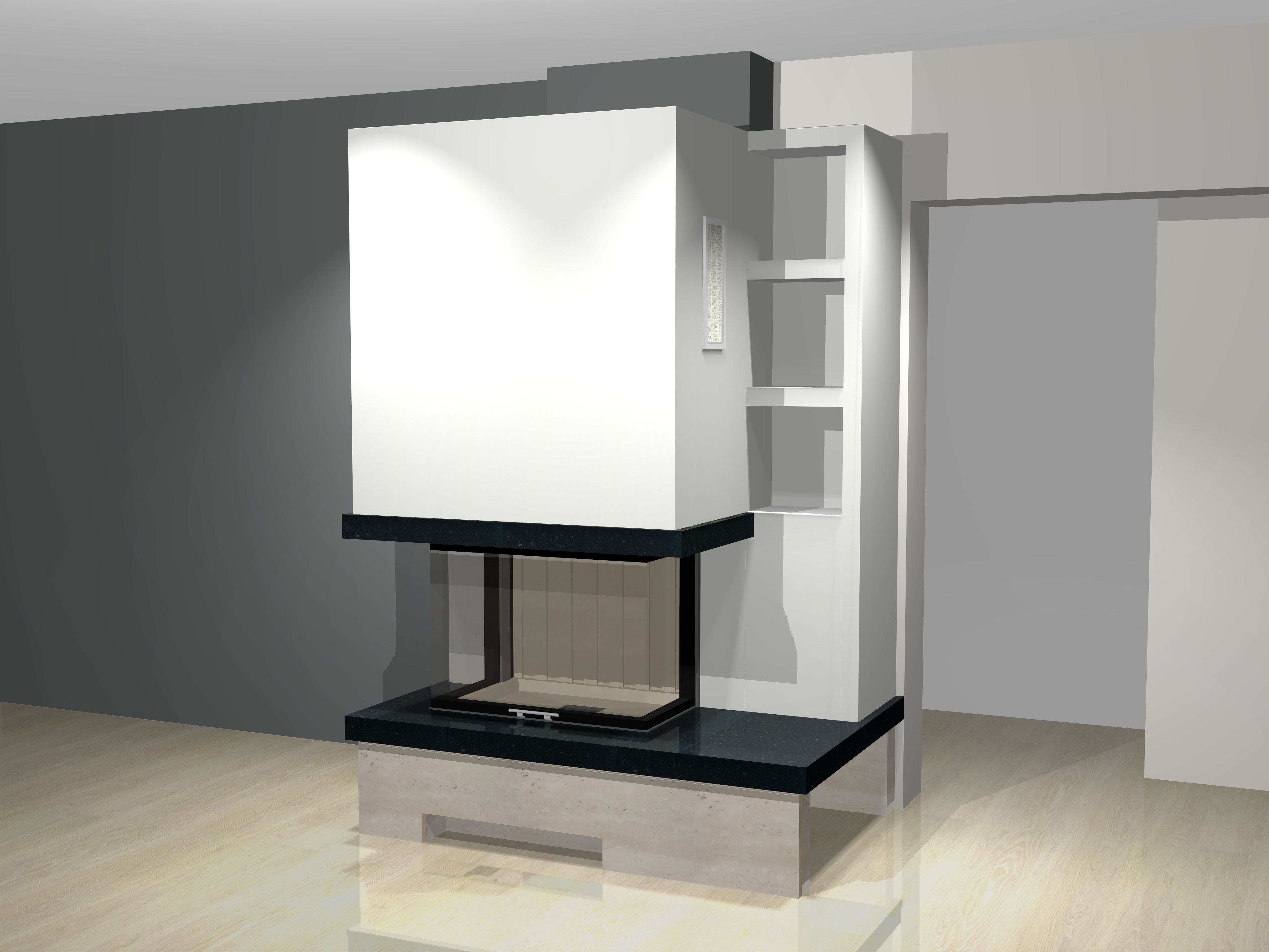 dreiseitiger kamin c 06 1 mit spartherm mit montage www. Black Bedroom Furniture Sets. Home Design Ideas