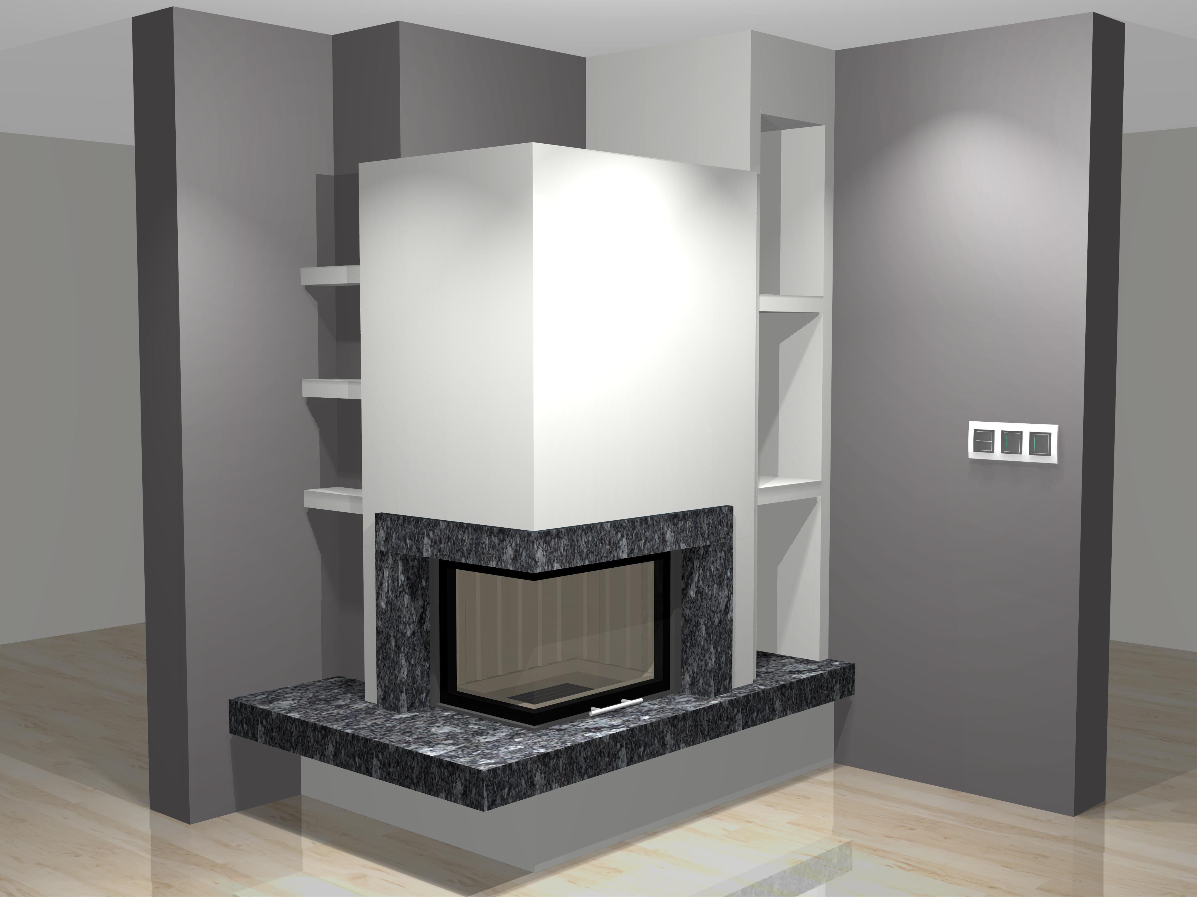 eckkamin modern a 41 1 mit spartherm mit montage www. Black Bedroom Furniture Sets. Home Design Ideas