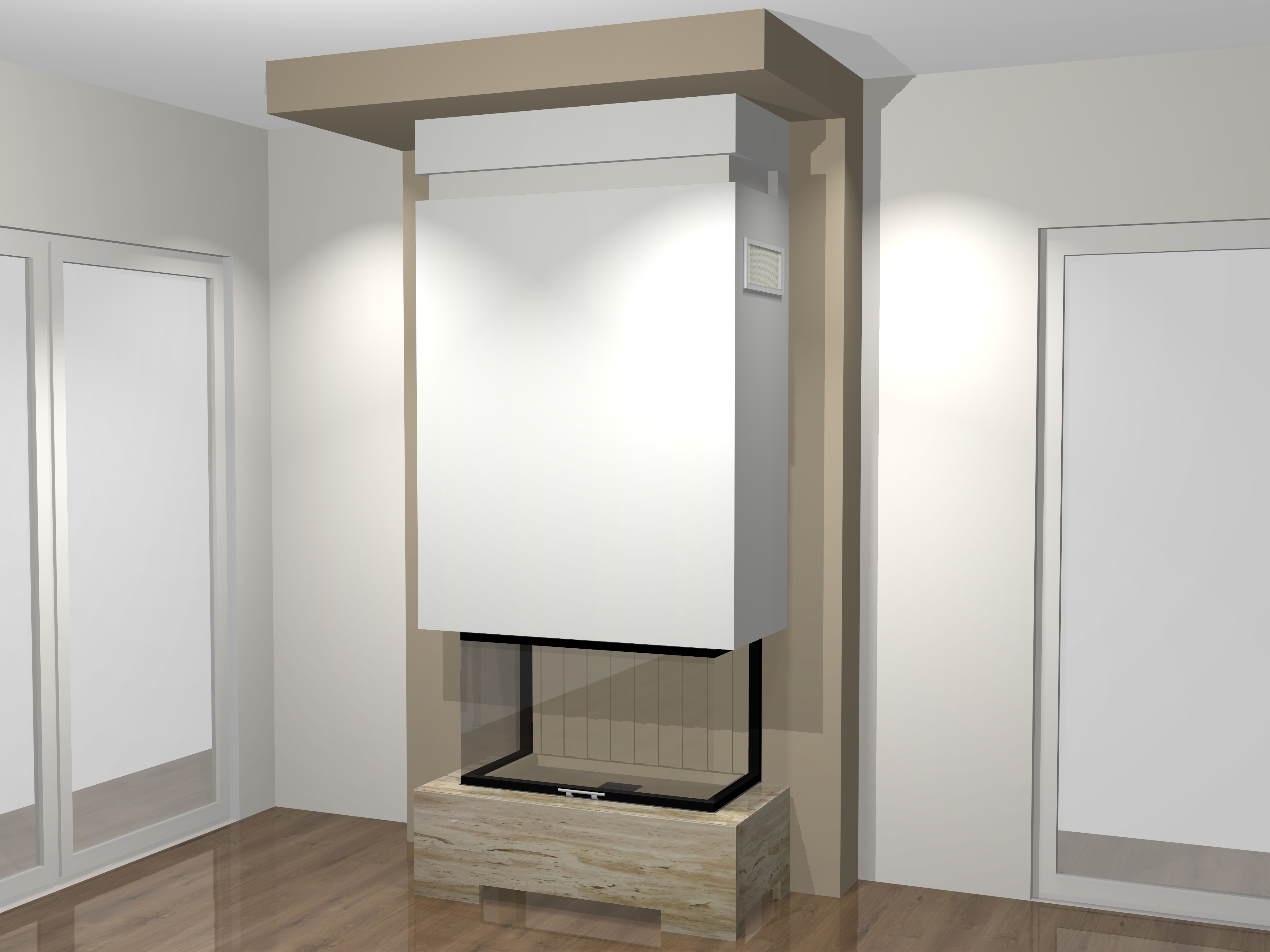 dreiseitiger kamin a 33 3 mit spartherm mit montage www. Black Bedroom Furniture Sets. Home Design Ideas